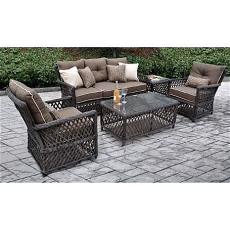 sam club patio furniture renees all weather synthetic wicker 5 seating set with premium sunbrella fabric