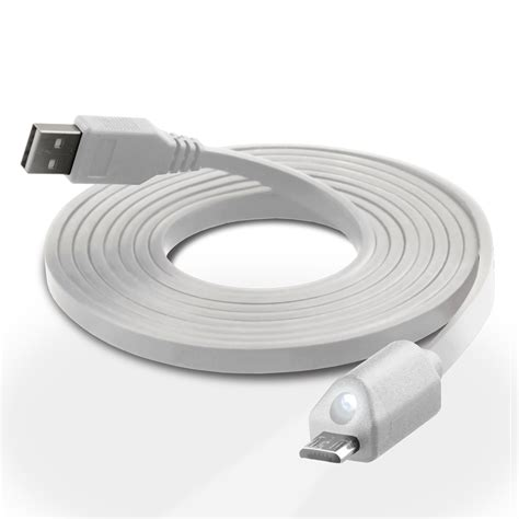 naztech led micro usb charge sync cable white