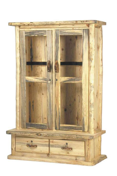 Gun Cabinet by Rustic Aspen Pine Log Pub Tables Log Gun Cabinets Log