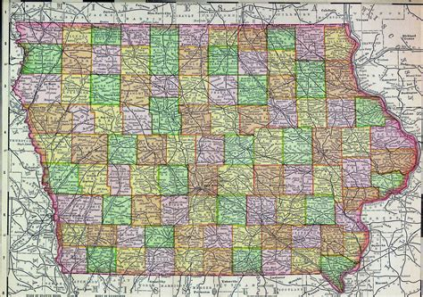 detailed map of iowa detailed administrative map of iowa with roads and