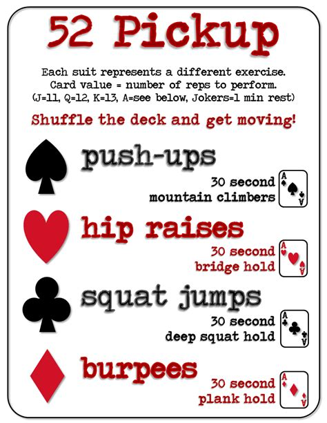 printable deck of cards workout aisle hi five at home workout 52 pickup