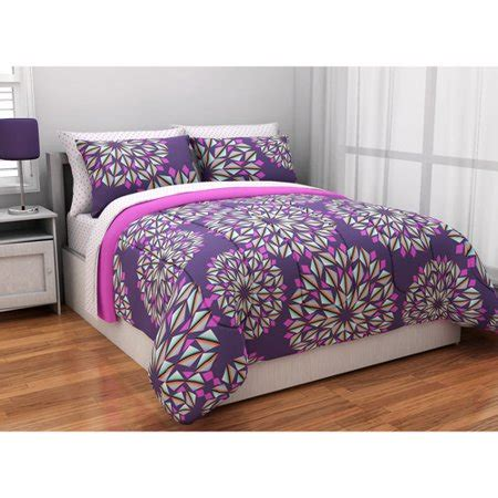 k mart bedspreads latitude kaleidoscope reversible bed in a bag bedding set purple walmart