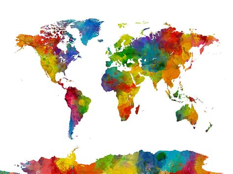 watercolor political map of the world digital art by michael tompsett map of the world map watercolor digital art by michael tompsett