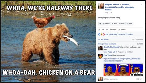 Woah We Re Halfway There Meme - chicken on a bear whoa we re halfway there know your meme