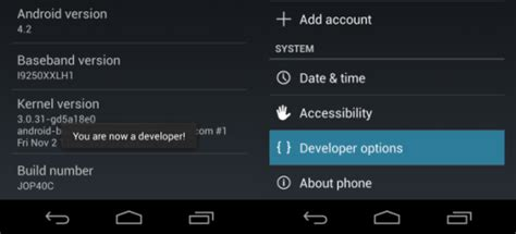 android developer options enable developer options in android 4 2 jelly bean