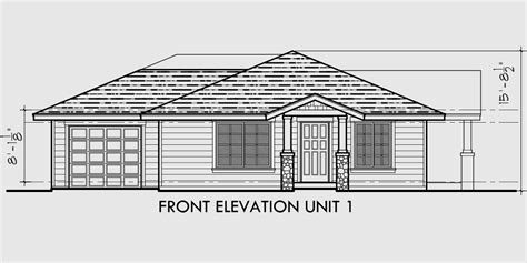 Drawing Of A House With Garage single story duplex house plan corner lot duplex house