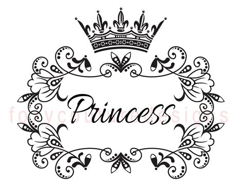 princess with crown vintage large image word digital image
