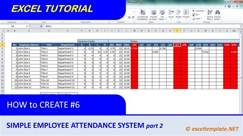 How To Create A Simple Excel Employee Attendance Tracker Sheet Part 2 Youtube How To Make A Template In Excel