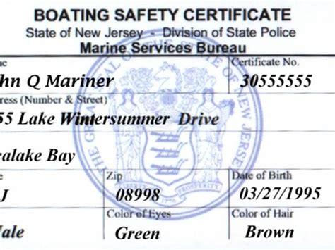 boating license classes in nj is a nj boat safety certificate the same as a boat license