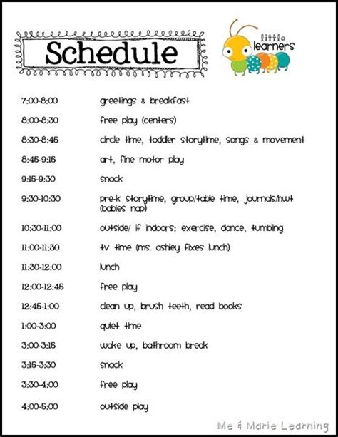 daycare schedule template best 25 daycare schedule ideas on home