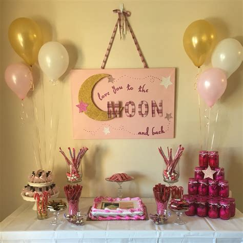 Moon And Baby Shower Ideas pink and gold i you to the moon and back baby shower