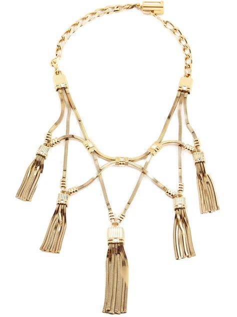 tassels for jewelry lanvin tassel necklace in metallic lyst
