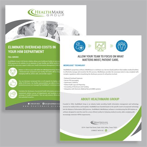 Professional Serious Flyer Design Job Brief For Healthmark On One Page Brochure Templates One Page Flyer Template
