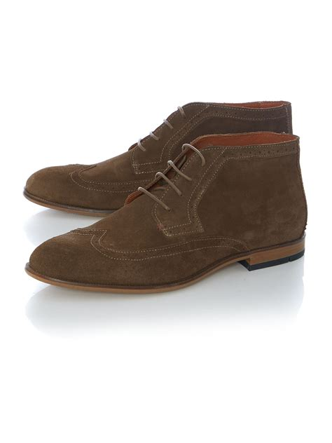 hilfiger boots hilfiger colton lace up casual chukka boots in brown