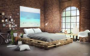 Wooden Bed Frames The Brick My Sims 4 Wooden Pallets Bed By Alachie Brick Sims