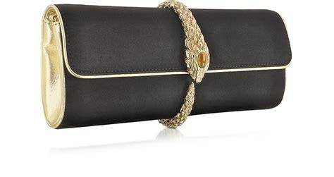 Roberto Cavalli Velvet Snake Wrap Clutch by Roberto Cavalli Black Satin Snake Clutch At Forzieri