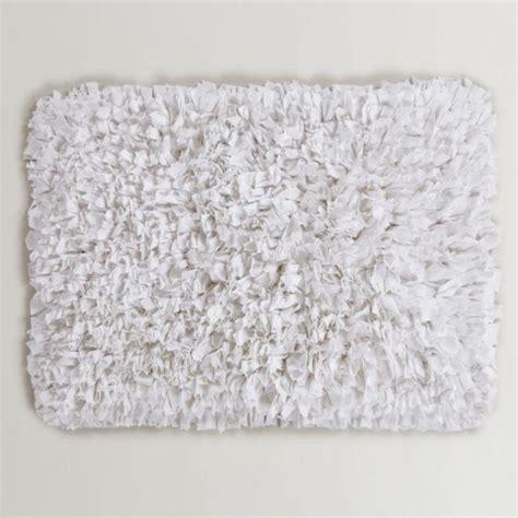 large white bathroom rugs white jersey shag bath mat world market