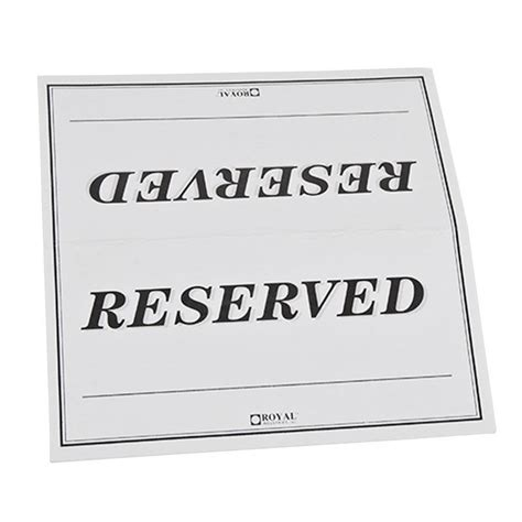 Table Tent Sign Quot Reserved Quot Double Sided 250 Pack Table Sign Template