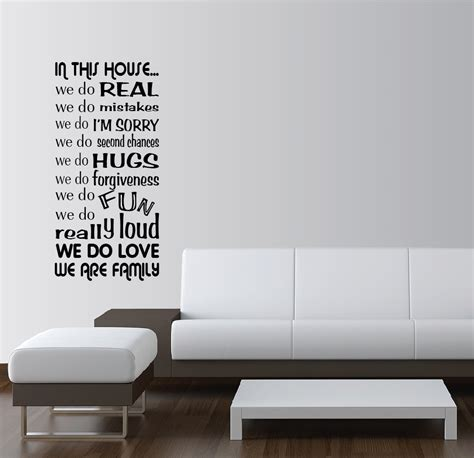 in this house vinyl wall sticker in this house we do vinyl wall word art quotes sayings