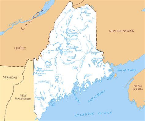 map of lakes in usa large detailed rivers and lakes map of maine state