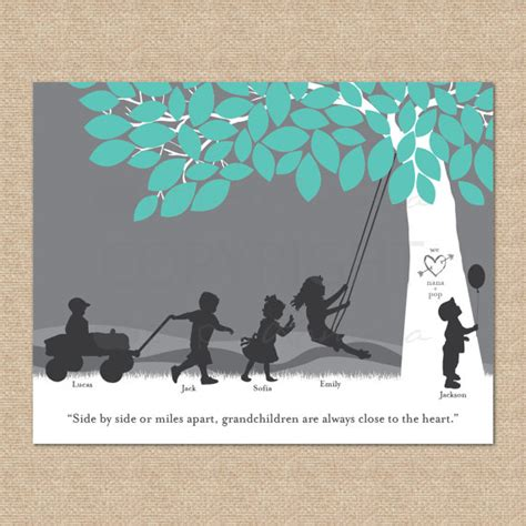 grandparent gift a personalized silhouette print featuring
