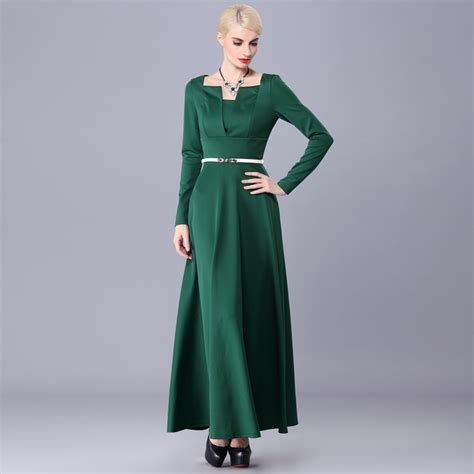 Maxi Green Muslimah muslim clothing islamic dress solid green sleeve