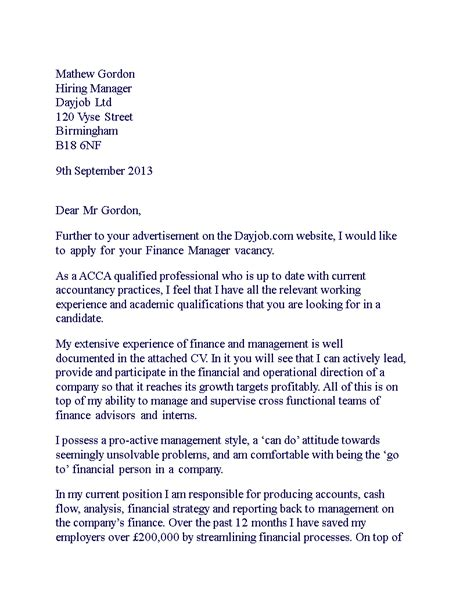 finance manager cover letter templates