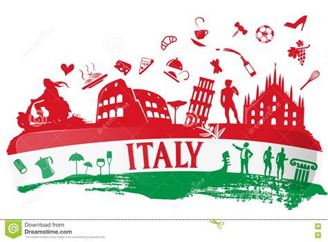 fond italien avec ensemble symbole silhouette illustration vecteur image 72653621