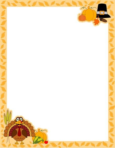 free thanksgiving borders a page border for thanksgiving with a turkey cartoon