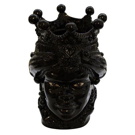 teste di testa di moro donna nera lucida con lustri h 45