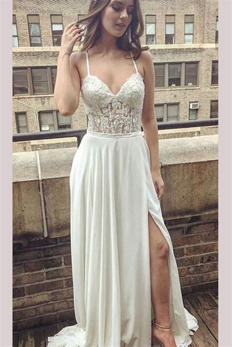 simple ivory lace long prom dressspaghetti strap beach