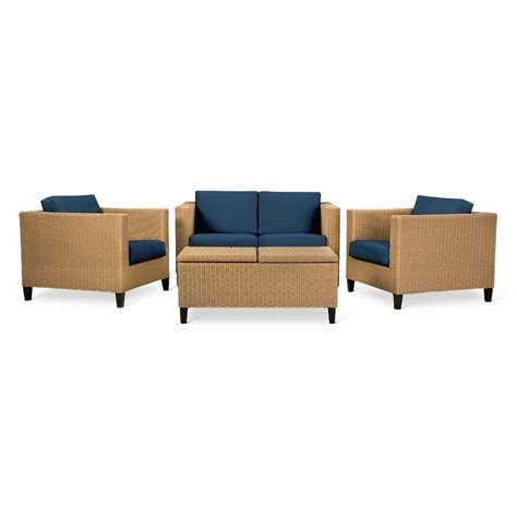 Navy Blue Patio Furniture Fullerton 4 Pc Wicker Patio Furniture Set Linen Threshold Navy Blue Patio And Patio