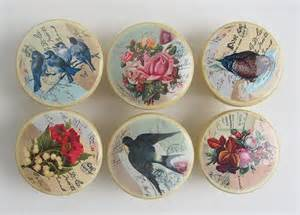 vintage style drawer knobs antique yellow with birds
