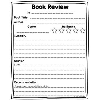 Book Review Template Free By Miss Clark S Spoonful Tpt Book Review Template High School Pdf