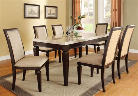 white dining room sets acme agatha 7pc white marble top rectangular dining room set in espresso by dining rooms outlet