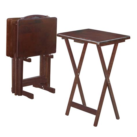 Folding Tv Tray Table Shop Linon 19 In X 14 In Rectangle Wood Espresso Tv Tray Folding Table At Lowes