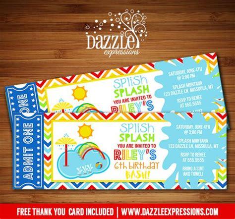 printable ball tickets printable pool party splash pad ticket birthday invitation