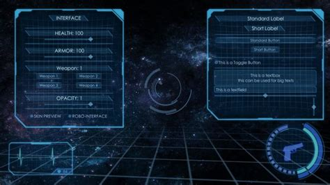 unity ui layout tutorial asset store 3d holographic interface gui skin sci fi