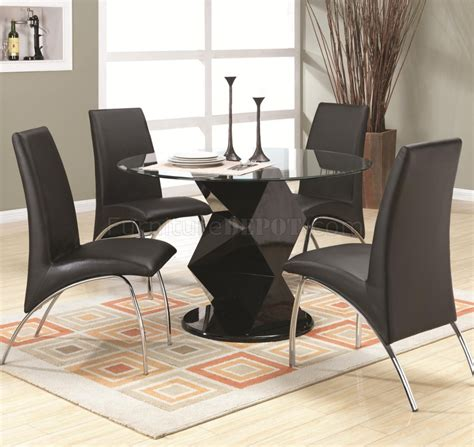 coaster 5 pc kimball collection contemporary style black ophelia dining set 5pc 120800 in black by coaster w options