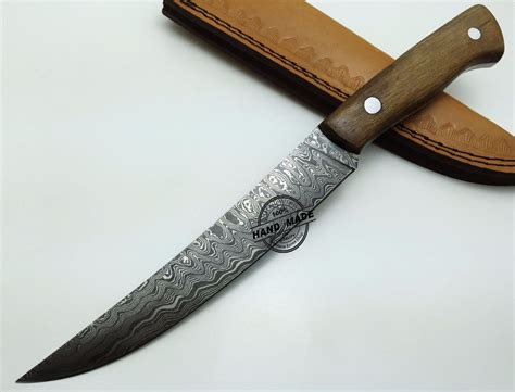 Handcrafted Knives - damascus kitchen knife custom handmade damascus steel kitchen