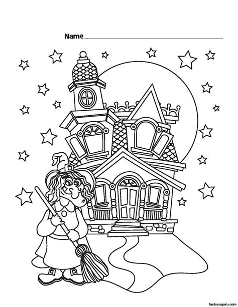 halloween witch coloring pages to print halloween witch castle printable coloring pages