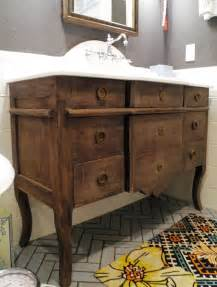 repurposed dresser into bathroom vanity for my
