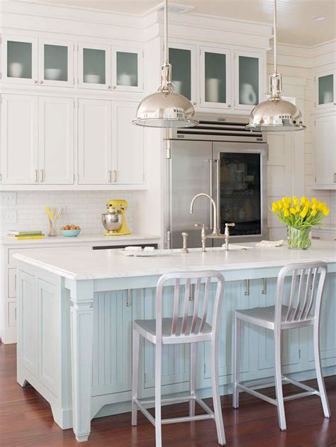 blue kitchen island cottage kitchen bhg