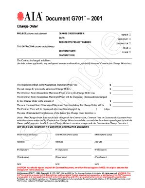 aia change order form fillable fill online printable