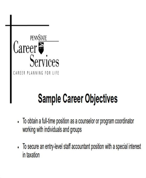 Best Career Goal Exles by Sle Of Career Goals And Objectives 28 Images 9 Career