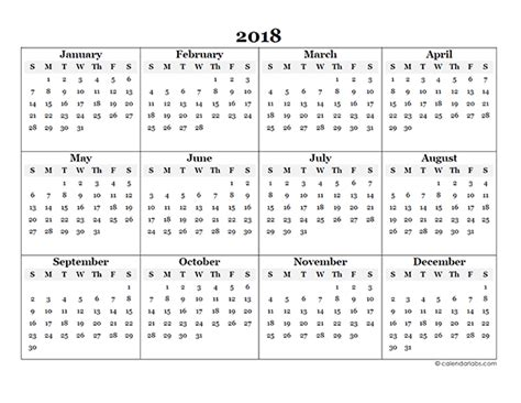2018 Blank Yearly Calendar Template Free Printable Templates Yearly Planner Template 2018