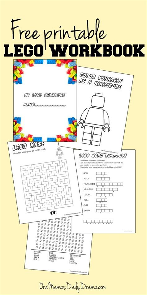 free printable lego workbook coloring for kids and or