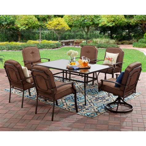 walmart patio dining set mainstays wentworth 7 patio dining set seats 6