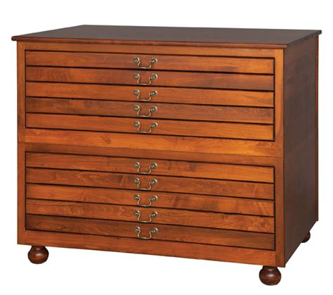 Flat File Cabinet 2 Stackable Five Drawer Flat File 10 Drawers Total Amish Furniture Connections Amish