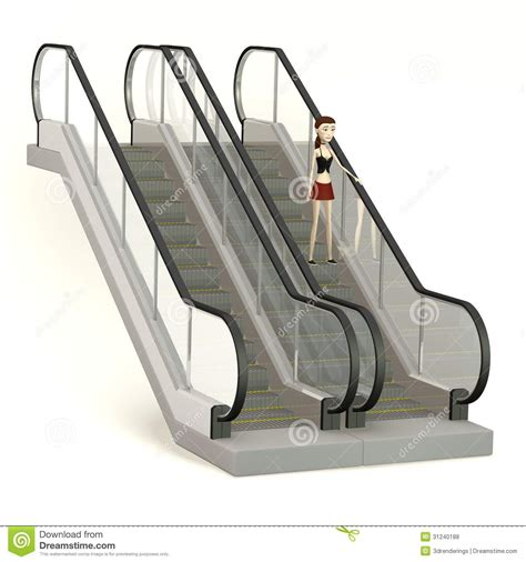 Draw A Floor Plan Free cartoon girl on escalator royalty free stock photos